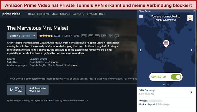 Screenshot von Amazon Prime, der den privaten Tunnel blockiert