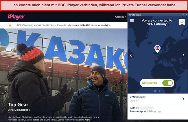 Screenshot des BBC iPlayer, der den privaten Tunnel blockiert