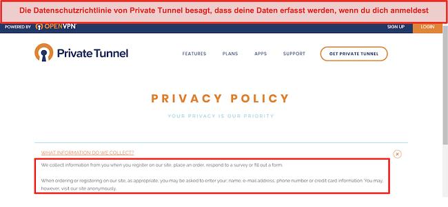 Screenshot der Datenschutzrichtlinie von Private Tunnel