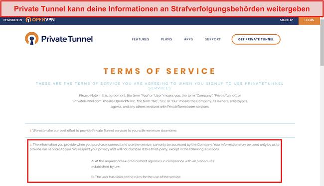 Screenshot der Nutzungsbedingungen von Private Tunnel