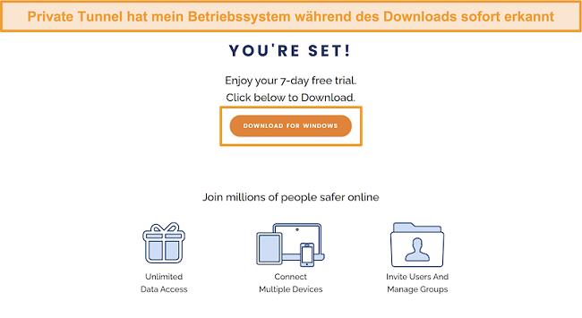 Screenshot des Download-Bildschirms von Private Tunnel