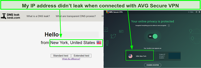 A screenshot showing AVG Secure VPN didn't leak my real IP during my tests.