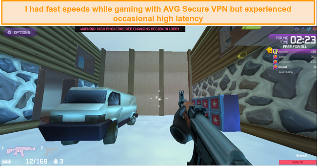 Screenshot of Kill Streak multiplayer game being played while connected to AVG Secure VPN server in Germany