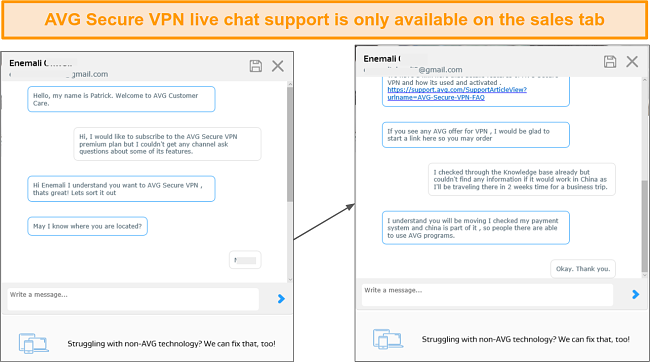 Screenshot of AVG Secure's live chat support.