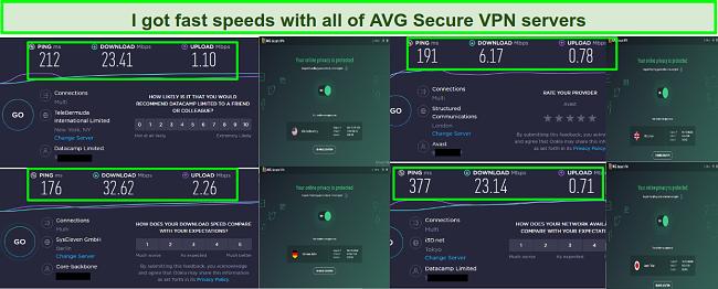 Screenshot of AVG Secure VPN speed tests using the New York, London, Berlin and Tokyo Servers.