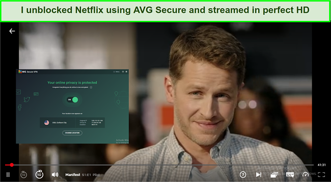 A screenshot showing AVG Secure VPN unblocked Netflix and allowed me to Manifest.