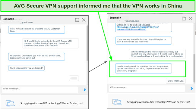 A screenshot showing AVG Secure VPN Support Agent informing me that its VPN works in China.