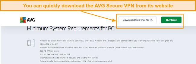 Screenshot of the AVG Secure PC download page