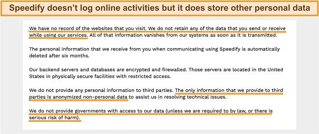 Screenshot of Speedify VPN's privacy policy on the website