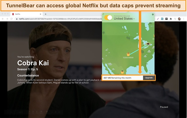 Screenshot of TunnelBear connected to US server and Netflix streaming Cobra Kai.