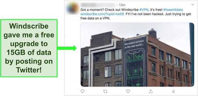 Screenshot of Tweet posted to get an extra 5GB of free data from Windscribe.