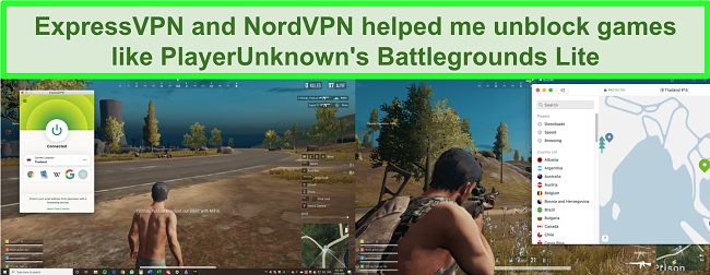 Comparison screenshots of a user playing PlayUnknown's Battlegrounds Lite while connected to ExpressVPN and NordVPN respectively