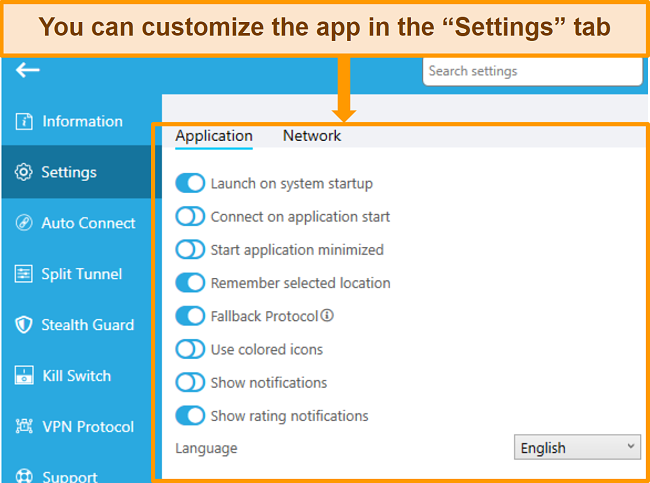 Screenshot of hideme review customize app in settings tab english