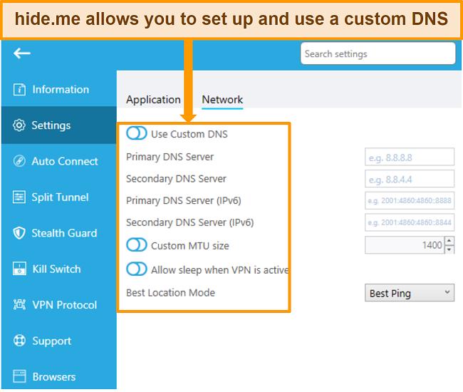 Screenshot of hideme review hideme allows custom DNS use english