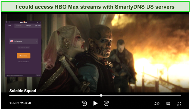 Screenshot of SmartyDNS unblocking HBO Max
