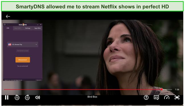 Screenshot of SmartyDNS unblocking Netflix