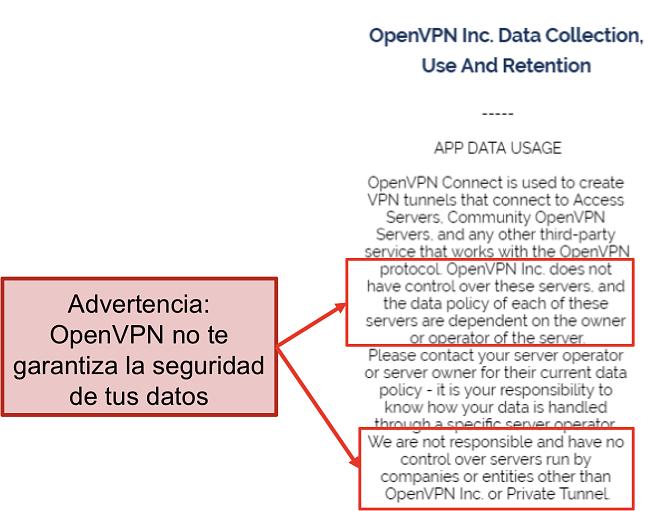 captura de pantalla de la política de privacidad de OpenVPN.