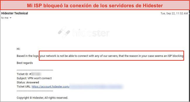 Captura de pantalla de Hidester bloqueada por ISP
