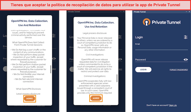 Captura de pantalla de la aplicación Private Tunnel con la Política de recopilación, uso y retención de datos