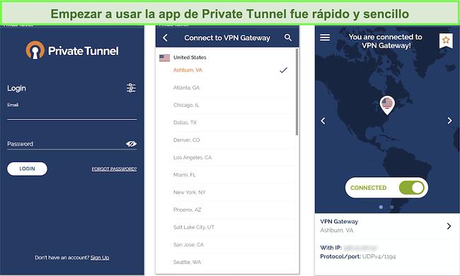 Captura de pantalla de la configuración de la aplicación de Android Private Tunnel.