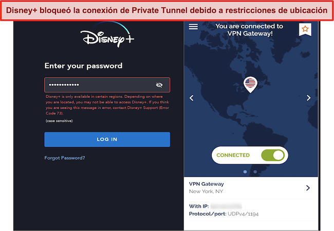 Captura de pantalla de Disney + bloqueando una conexión de túnel privado