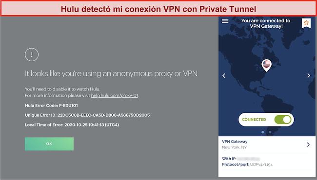 Captura de pantalla de Hulu bloqueando la conexión de Private Tunnel VPN