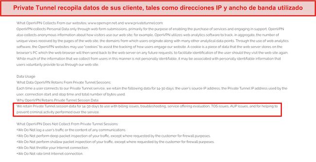 Captura de pantalla de la política de recopilación, retención y uso de datos de Private Tunnel.