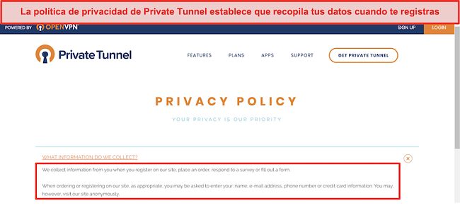 Captura de pantalla de la política de privacidad de Private Tunnel