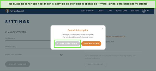 Captura de pantalla del proceso de cancelación de suscripción de Private Tunnel.