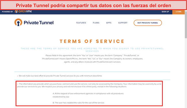 Captura de pantalla de los Términos de servicio de Private Tunnel