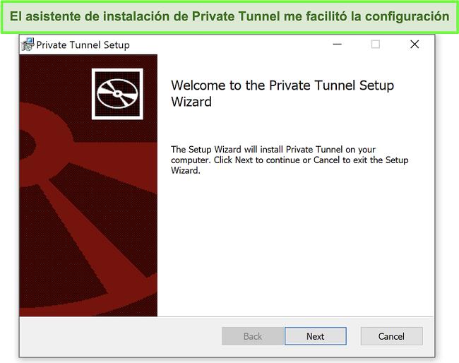 Captura de pantalla del asistente de instalación de Private Tunnel.