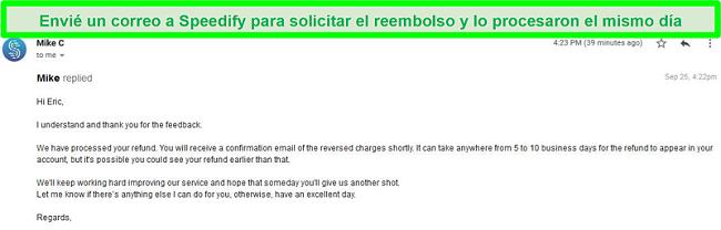 Captura de pantalla de un correo electrónico del soporte de Speedify procesando una solicitud de reembolso