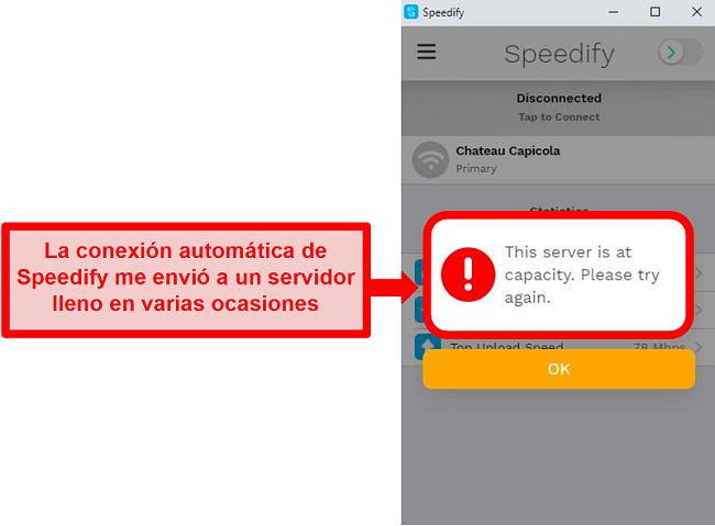 Captura de pantalla de la interfaz de usuario de Speedify que muestra un mensaje de error de que un servidor está en su capacidad
