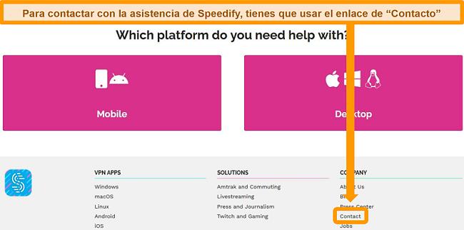Captura de pantalla de la página de soporte en el sitio web de Speedify