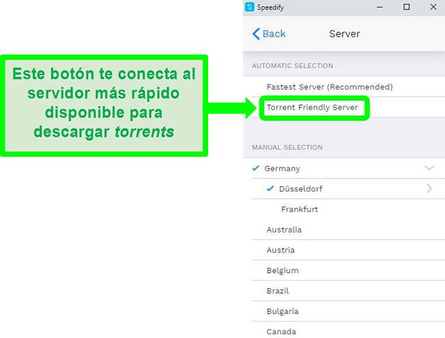 Captura de pantalla del menú de selección de servidor de Speedify