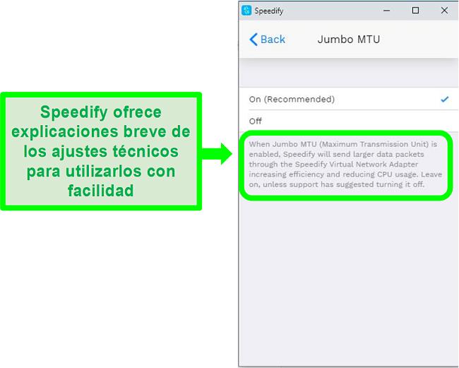 Captura de pantalla de una explicación debajo de una de las configuraciones de Speedify