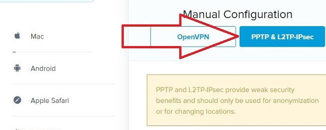 Screenshot of step 5 set up on how to install ExpressVPN without an App on Android showhing PPTP & L2TP-IPsec button for manual configuration