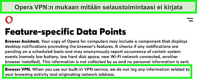 Kuvakaappaus Operan tietosuojakäytännöstä, jossa näkyy VPN, ei tallenna lokeja.