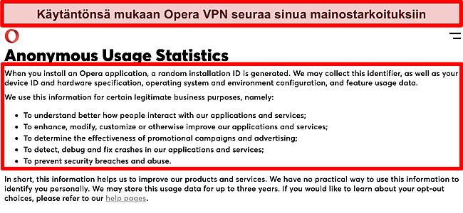 Kuvakaappaus Opera VPN: n tietosuojakäytännöstä