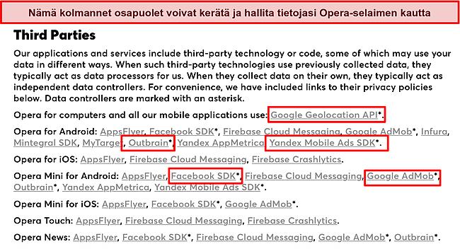 Kuvakaappaus Operan tietosuojakäytännöstä, joka paljastaa tietojen keräämisen kolmansilta osapuolilta.