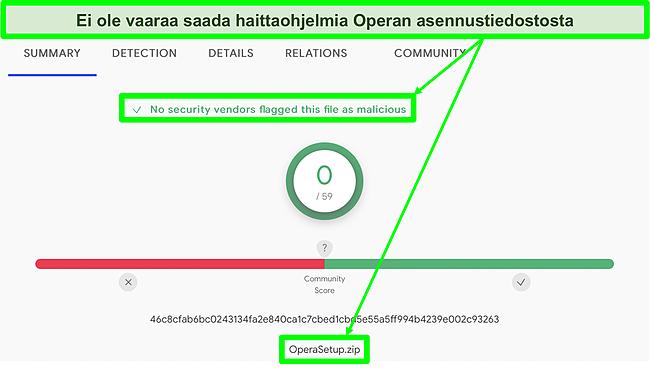 Kuvakaappaus haittaohjelmien tarkistuksesta, jossa ei näy viruksia Operan asennustiedostossa.