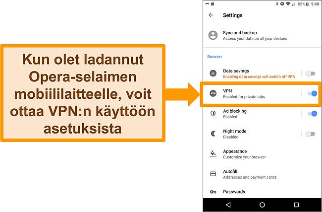 Kuvakaappaus Android Opera -selaimen asetusvalikosta, jossa näkyy VPN -vaihtoehto käytössä.