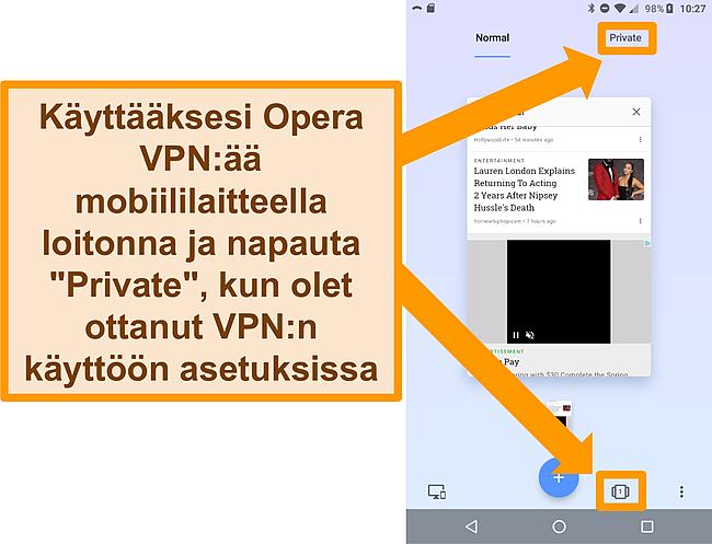 Kuvakaappaus Opera -arvostelusta.