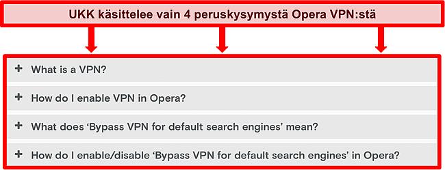 Kuvakaappaus Opera VPN: n usein kysytyistä kysymyksistä.