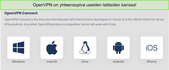Näyttökuva laitteista, joihin voit saada OpenVPN: n.