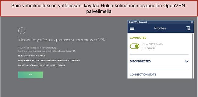 Näyttökuva Hulu VPN -virheestä, jonka vieressä on auki OpenVPN-sovellus.
