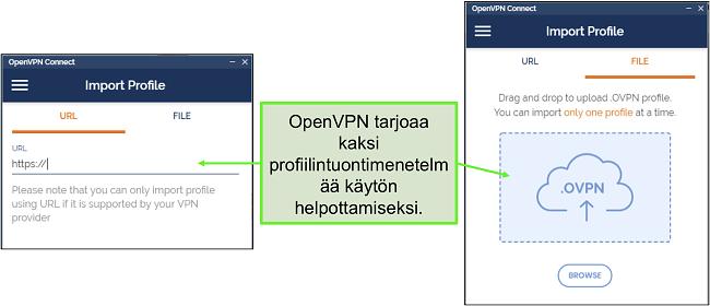 Näyttökuva kahdesta tapasta, joilla voit tuoda palvelinprofiileja OpenVPN-käyttöliittymään.