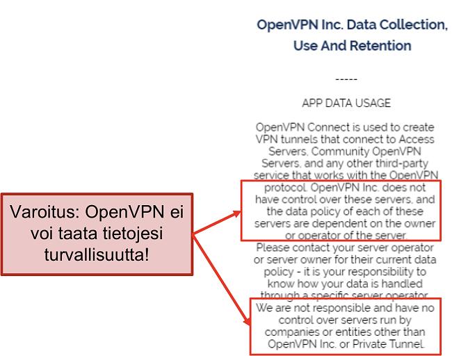 kuvakaappaus OpenVPN: n tietosuojakäytännöstä.