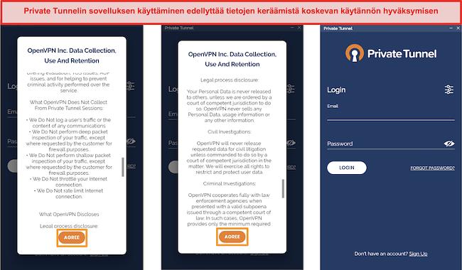 Näyttökuva yksityisen tunnelin sovelluksesta, joka sisältää tiedonkeruu-, käyttö- ja säilytyskäytännön
