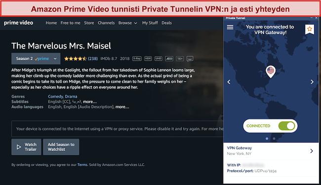 Näyttökuva Amazon Prime -yrityksestä, joka estää yksityisen tunnelin